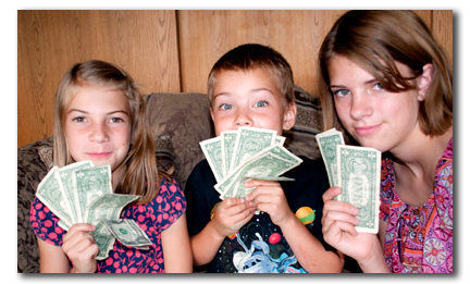 kids with cash