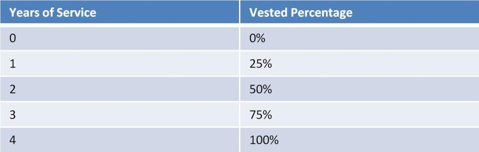 401(k) vesting schedule example