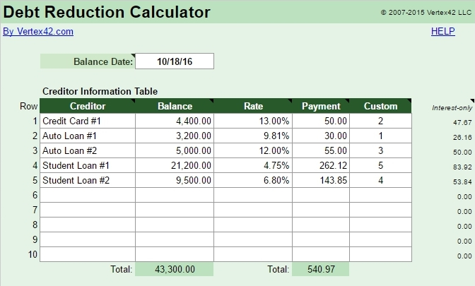 online debt reduction calculator